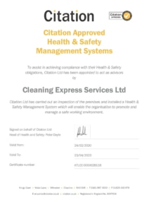 cleaning health and safety certificate