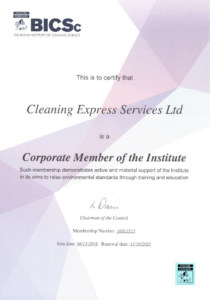 cleaning express BICSc certificate