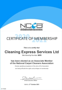 National Carpet Cleaners Association Certificate Cleaning Express